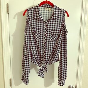 SOLD! Flannel with cold shoulder and tie detail